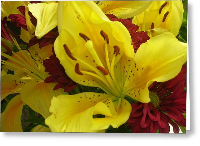 Yellow Floral Greeting Card by Nancy Ferrier