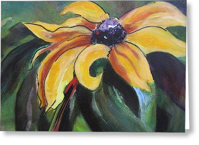 Yellow Flower Greeting Card by Vicki Brevell