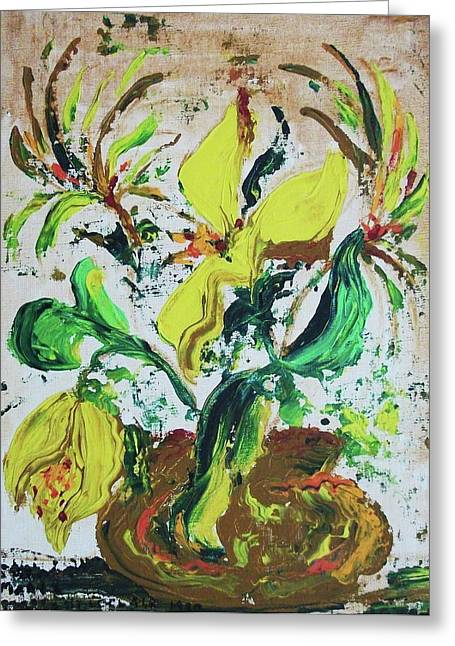 Suzanne Marie Molleur Paintings Greeting Cards - Yellow Flowers and Brown Pot Greeting Card by Suzanne  Marie Leclair