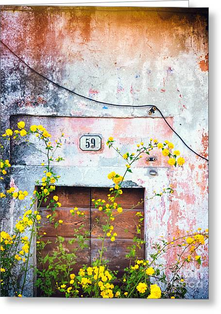 Yellow Flowers And Decayed Wall Greeting Card