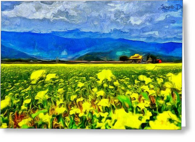 Yellow Flowers - Da Greeting Card