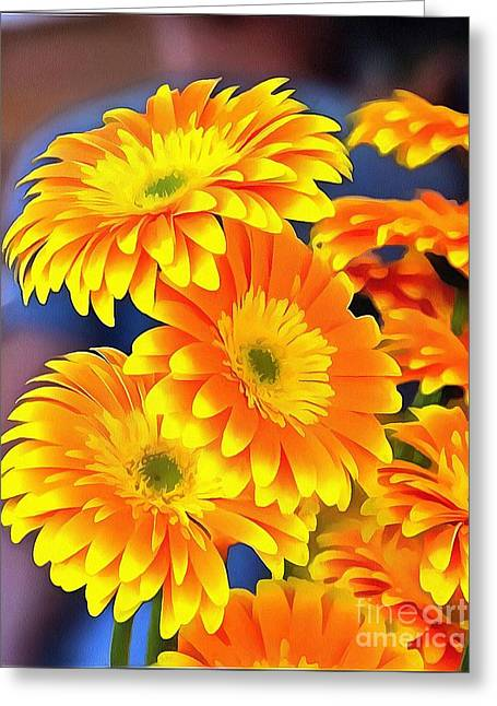 Yellow Flowers In Thick Paint Greeting Card