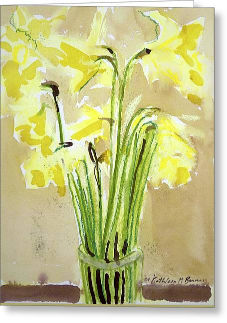 Yellow Flowers In Vase Greeting Card