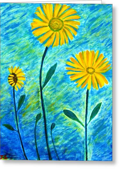 Yellow Flowers Greeting Card by John Scates