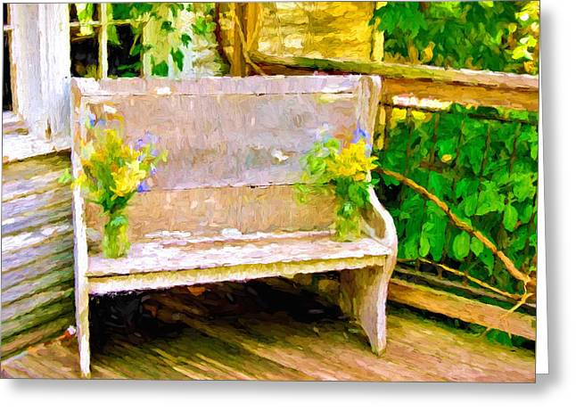 Yellow Flowers On Porch Bench Greeting Card