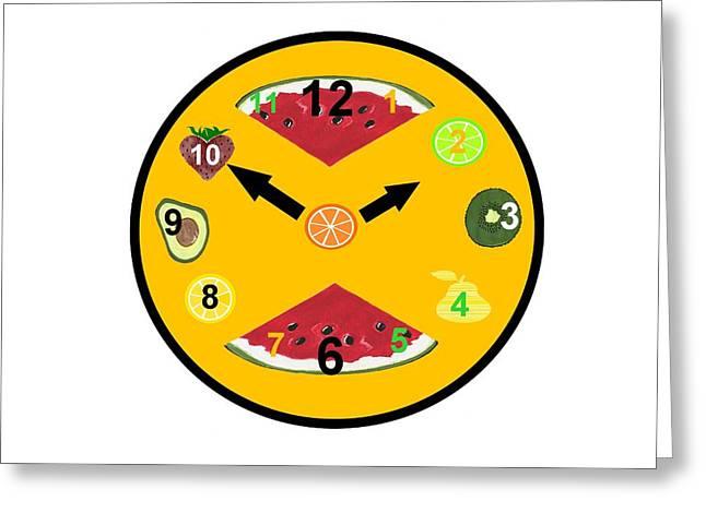 Yellow Food Clock Greeting Card