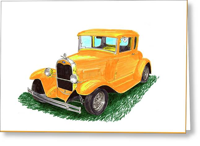Yellow Ford Hot Rod Coupe Greeting Card by Jack Pumphrey