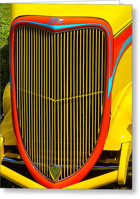 Yellow Ford Hot Rod Grill Greeting Card