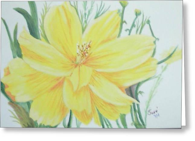 Greeting Card featuring the painting Yellow Garden Flower by Hilda and Jose Garrancho