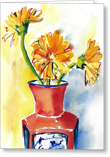 Yellow Gerbera Daisies In A Red And Blue Delft Vase Greeting Card