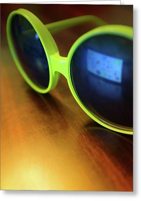 Yellow Goggles With Reflection Greeting Card by Carlos Caetano
