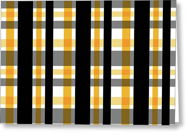 Yellow Gold And Black Plaid Striped Pattern Vrsn 1 Greeting Card by Shelley Neff