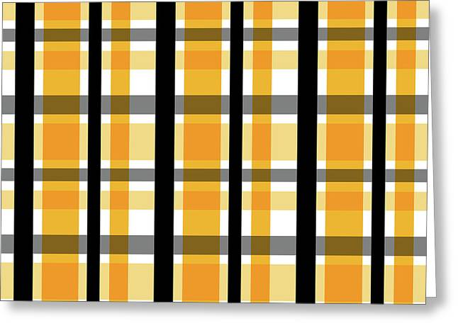 Yellow Gold And Black Plaid Striped Pattern Vrsn 2 Greeting Card by Shelley Neff