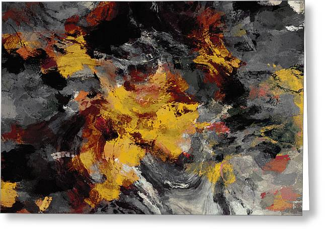 Greeting Card featuring the painting Yellow / Golden Abstract / Surrealist Landscape Painting by Ayse Deniz