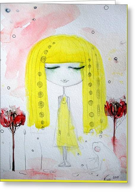 Yellow Hair Girl  Greeting Card