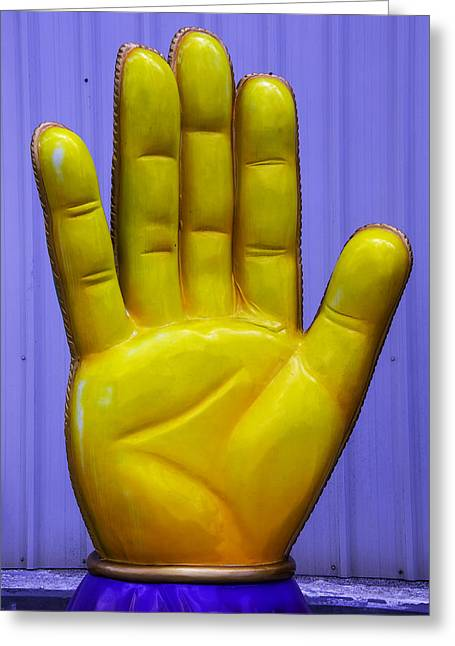 Yellow Hand Greeting Card by Garry Gay