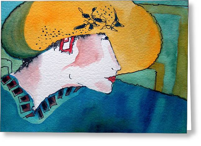 Yellow Hat Greeting Card by Jane Ferguson