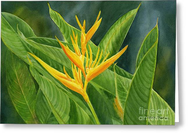 Yellow Heliconia Paradise With Leaves Greeting Card by Sharon Freeman