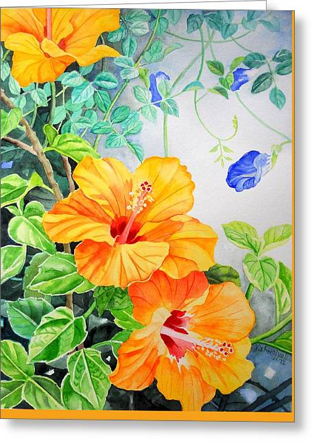 Yellow Hibiscus And Blue Clitoria Greeting Card by Vishwajyoti Mohrhoff