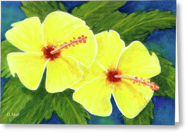 Yellow Hibiscus Flower #292 Greeting Card by Donald k Hall