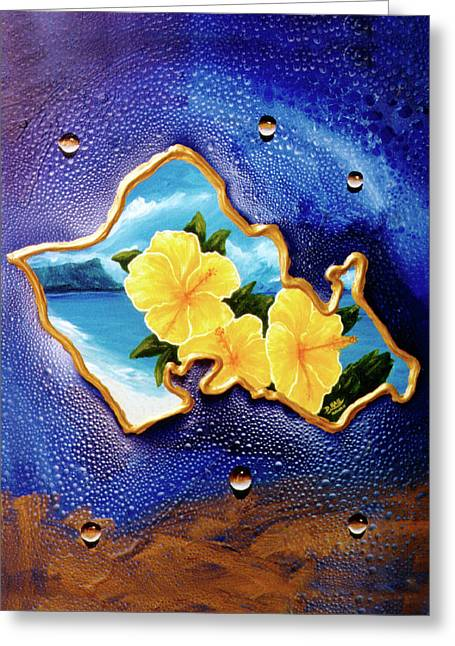 Yellow Hibiscus Hawaii State Flower #142 Greeting Card by Donald k Hall