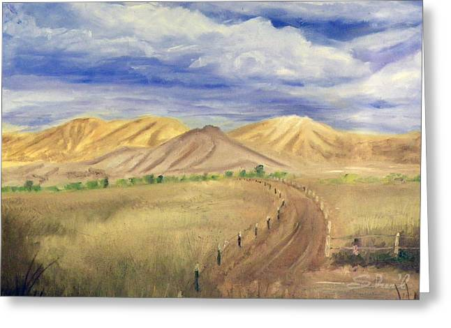 Greeting Card featuring the painting Yellow Hills Of Jensen by Sherril Porter
