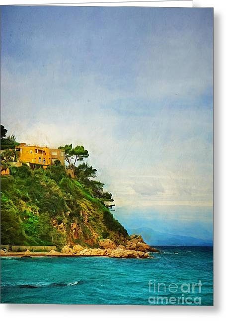 Yellow House In Capri Greeting Card by HD Connelly