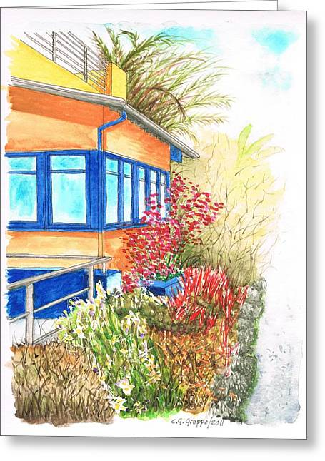 Yellow House In Venice Beach - California Greeting Card by Carlos G Groppa
