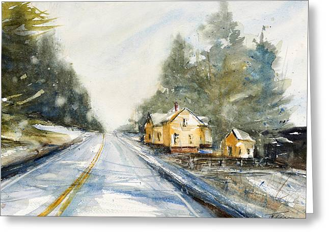 Yellow House On The Right Greeting Card by Judith Levins