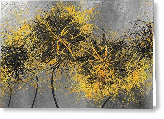 Yellow Hymns - Yellow And Gray Modern Abstract Art Greeting Card