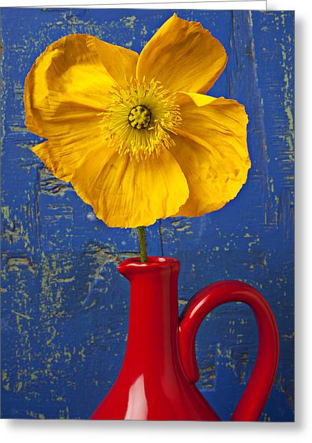 Yellow Iceland Poppy Red Pitcher Greeting Card by Garry Gay