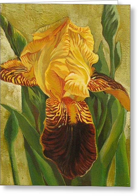 Greeting Card featuring the painting Yellow Iris by Alfred Ng