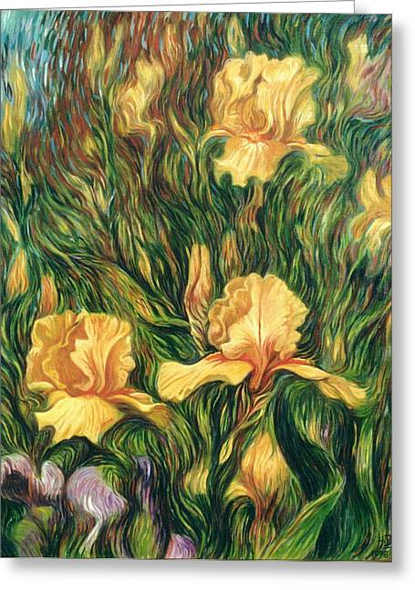 Yellow Irises Greeting Card