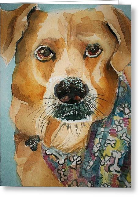Yellow Lab Greeting Card by Mindy Newman