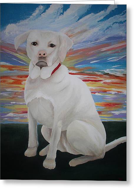 Yellow Lab Greeting Card by Valerie Josi