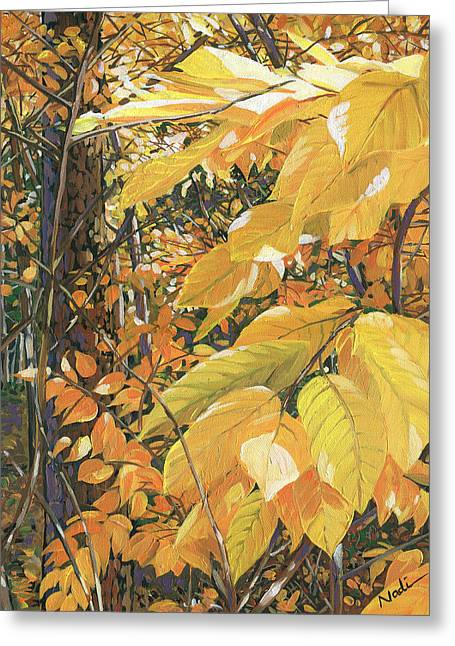 Yellow Leaves Greeting Card by Nadi Spencer