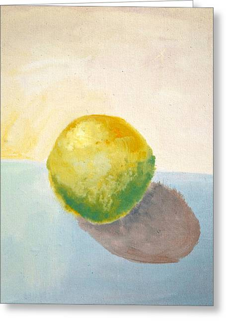 Geometric Image Greeting Cards - Yellow Lemon Still Life Greeting Card by Michelle Calkins