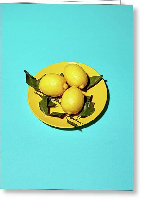 Yellow Lemons On Cyan Greeting Card by Oleg Cherneikin
