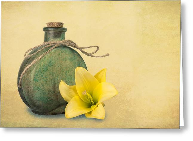 Yellow Lily And Green Bottle II Greeting Card by Tom Mc Nemar