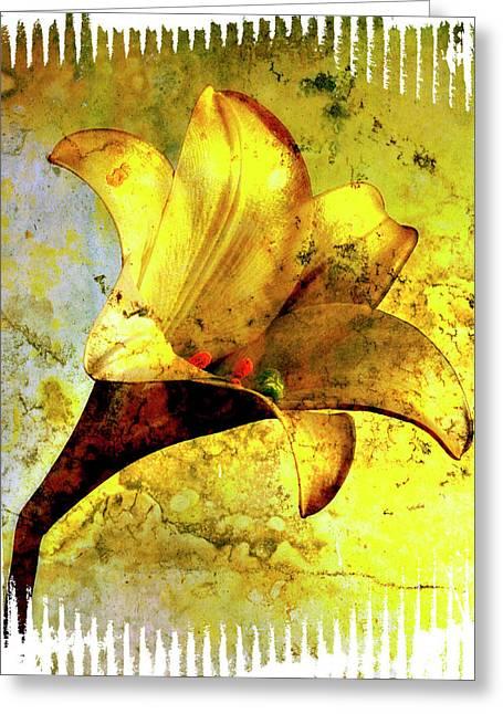Yellow Lily Greeting Card by Bernard Jaubert