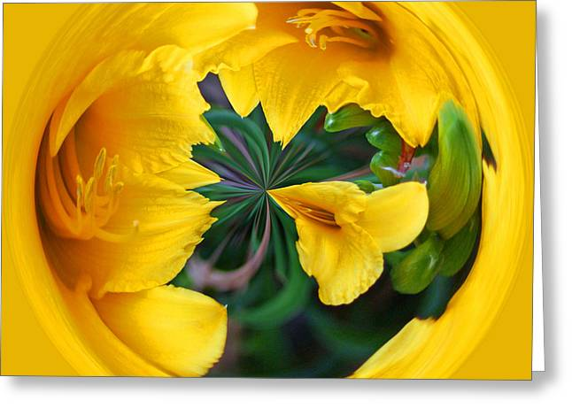 Greeting Card featuring the photograph Yellow Lily Orb by Bill Barber