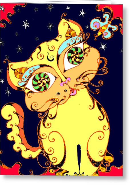 Yellow Loopy Cat Greeting Card