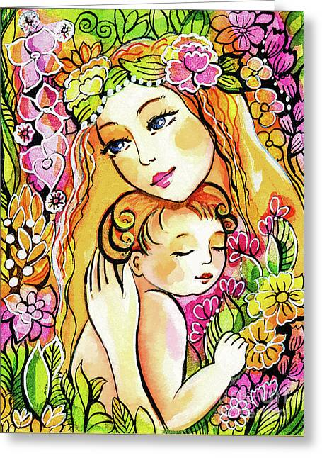 Greeting Card featuring the painting Yellow Madonna With Child by Eva Campbell