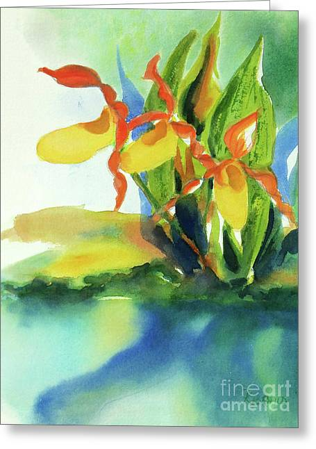 Yellow Moccasin Flowers Greeting Card