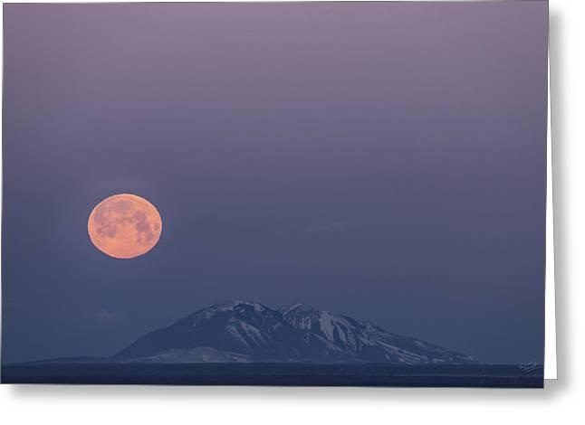 Yellow Moon Set Greeting Card by Leland D Howard