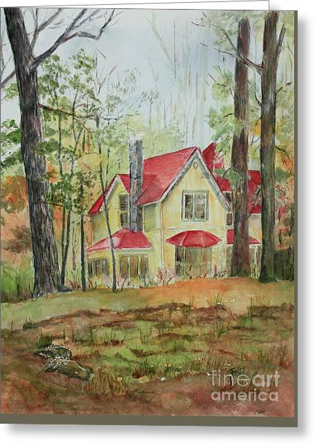 Yellow Mountain Cottage Greeting Card by Janet Felts