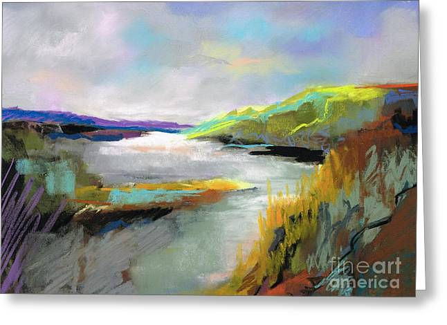 Yellow Mountain Greeting Card by Frances Marino