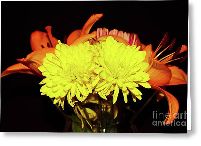 Yellow Mums And Orange Lilies  Greeting Card
