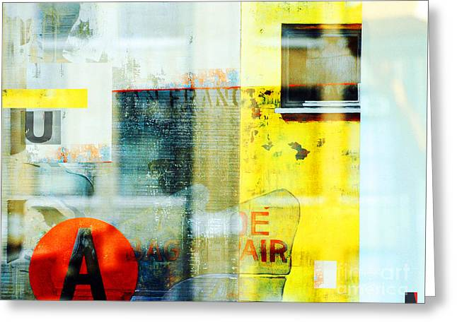 Yellow Ny Windows Greeting Card by WALL ART and HOME DECOR