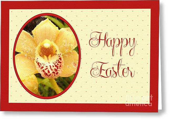 Greeting Card featuring the digital art Yellow Orchid Easter by JH Designs